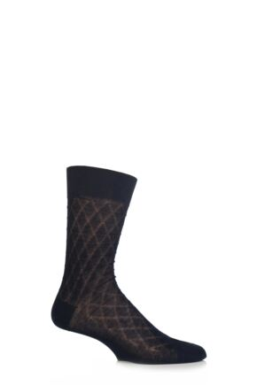 Mens 1 Pair SockShop Large Diamond Pattern 97% Mercerised Cotton Socks