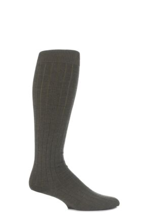 Mens 1 Pair Viyella Knee High Wool Ribbed Socks With Hand Linked Toe Lovat