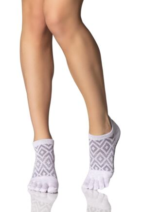 Ladies 1 Pair ToeSox Low Rise Full Toe Diamond Socks