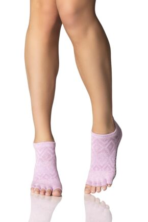 Ladies 1 Pair ToeSox Low Rise Half Toe Diamond Socks
