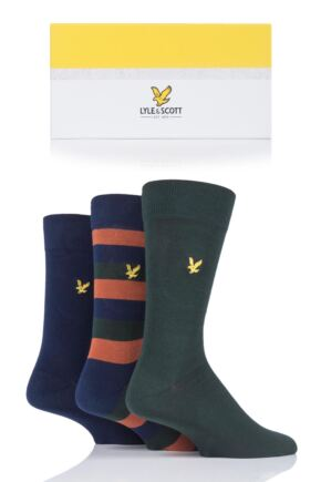 Mens 3 Pair Lyle & Scott Calum Gift Boxed Cotton Socks