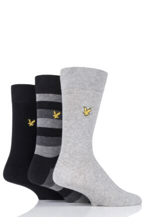 Mens 3 Pair Lyle & Scott Scotty Striped Cotton Socks