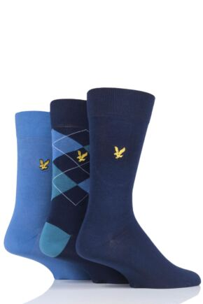 Mens 3 Pair Lyle & Scott Hewie Argyle Cotton Socks