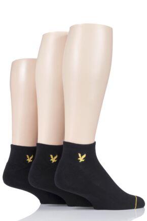Mens 3 Pair Lyle & Scott Ross Plain Cotton Trainer Socks