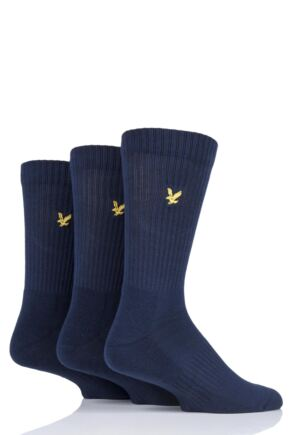 Mens 3 Pair Lyle & Scott Hamilton Plain Cotton Sports Socks