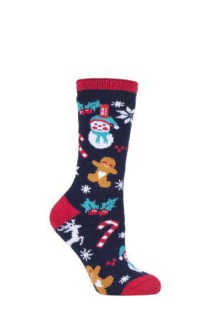 Ladies 1 Pair SOCKSHOP Heat Holders Lite Christmas Socks