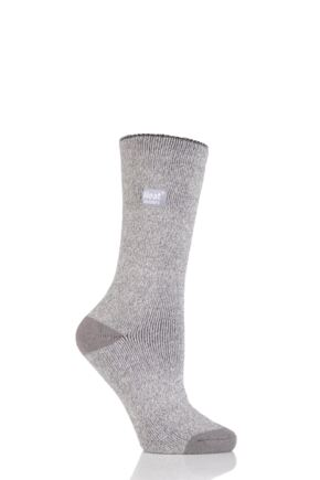 Ladies 1 Pair Heat Holders 1.6 TOG Lite Twisted Yarn Socks Silver / Cream 4-8