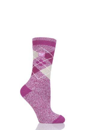 Ladies 1 Pair Heat Holders 1.6 TOG Patterned and Striped Socks Pink 4-8