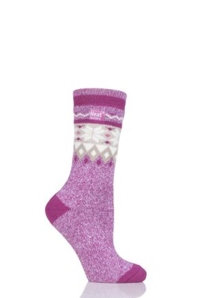 Ladies 1 Pair Heat Holders 1.6 TOG Patterned and Striped Socks Raspberry 4-8