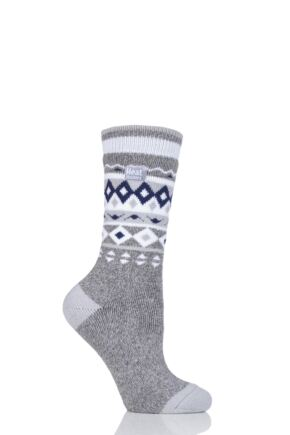 Ladies 1 Pair Heat Holders 1.6 TOG Patterned and Striped Socks Grey 4-8