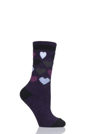 Ladies 1 Pair Heat Holders 1.6 TOG Patterned and Striped Socks Purple 4-8