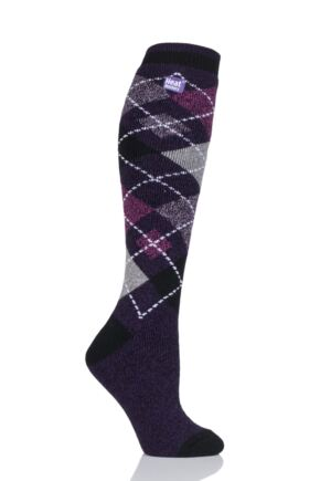 Ladies 1 Pair Heat Holders 1.6 TOG Lite Patterned and Striped Knee High Socks Purple 4-8