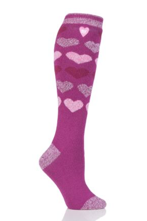 Ladies 1 Pair Heat Holders 1.6 TOG Lite Patterned and Striped Knee High Socks