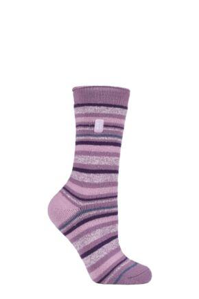Ladies 1 Pair SOCKSHOP Heat Holders 1.6 TOG Lite Patterned and Striped Socks
