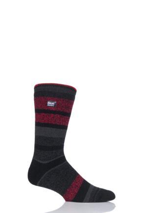 Mens 1 Pair Heat Holders 1.6 TOG Lite Block Stripe Socks Charcoal 6-11