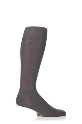 Mens 1 Pair Pringle of Scotland 100% Mercerised Cotton Rib Knee High Socks Grey Size 7 - 8.5