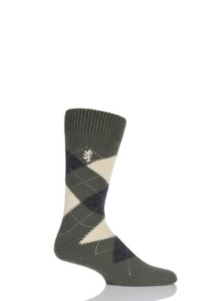 Mens 1 Pair Pringle of Scotland 85% Cashmere Argyle Socks Olive 6-8.5