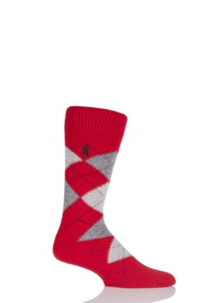 Mens 1 Pair Pringle of Scotland 85% Cashmere Argyle Socks Red 9-11