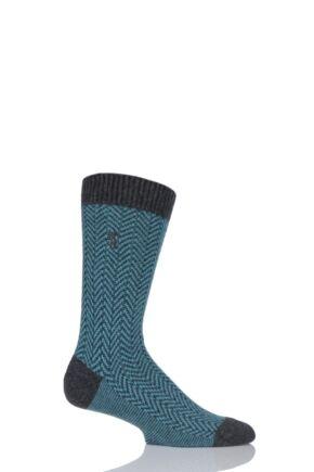Mens 1 Pair Pringle of Scotland 85% Cashmere Herringbone Socks