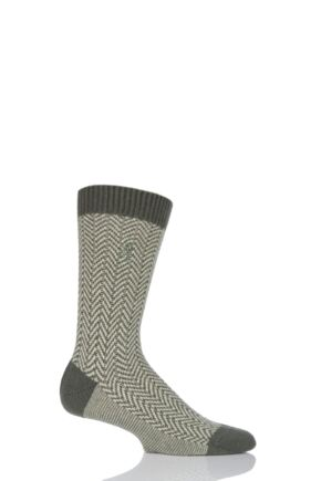 Mens 1 Pair Pringle of Scotland 85% Cashmere Herringbone Socks Olive 9-11