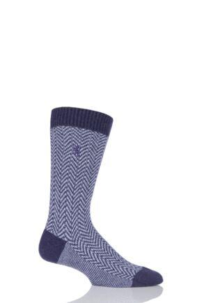 Mens 1 Pair Pringle of Scotland 85% Cashmere Herringbone Socks Plum 6-8.5