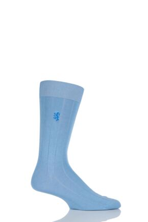Mens 1 Pair Pringle of Scotland Cashmere Blend Ribbed Socks Aqua 6-8.5