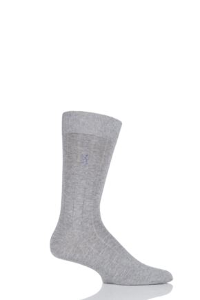 Mens 1 Pair Pringle of Scotland Cashmere Blend Ribbed Socks Light Grey 9-11