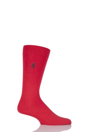 Mens 1 Pair Pringle of Scotland 80% Sea Island Cotton Plain Socks Scarlet 9-11