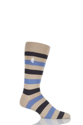Mens 1 Pair Pringle of Scotland 80% Sea Island Cotton Striped Socks Light Khaki 9-11