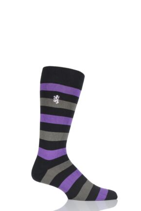 Mens 1 Pair Pringle of Scotland 80% Sea Island Cotton Striped Socks Black 6-8.5