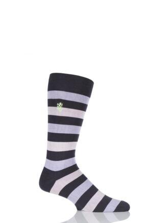 Mens 1 Pair Pringle of Scotland 80% Sea Island Cotton Striped Socks Charcoal 9-11