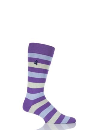 Mens 1 Pair Pringle of Scotland 80% Sea Island Cotton Striped Socks Crocus 9-11