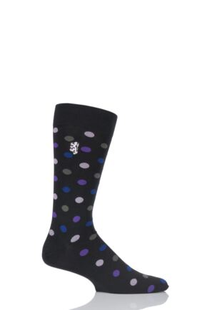 Mens 1 Pair Pringle of Scotland 80% Sea Island Cotton Spots Socks Black 9-11