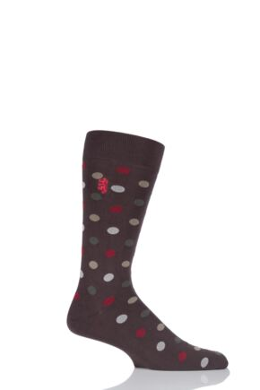 Mens 1 Pair Pringle of Scotland 80% Sea Island Cotton Spots Socks Chocolate 6-8.5