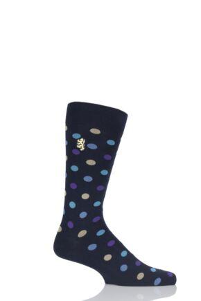 Mens 1 Pair Pringle of Scotland 80% Sea Island Cotton Spots Socks Navy 9-11