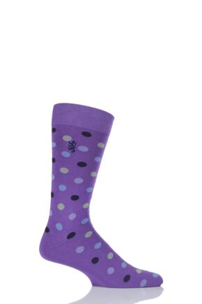 Mens 1 Pair Pringle of Scotland 80% Sea Island Cotton Spots Socks Crocus 6-8.5