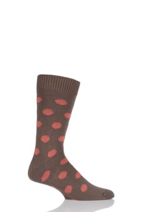 Mens 1 Pair Pringle of Scotland 6 Gauge Cotton Spot Design Socks Bronze / Manderine