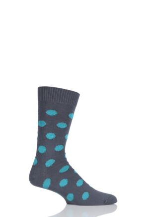 Mens 1 Pair Pringle of Scotland 6 Gauge Cotton Spot Design Socks Slate / Peacock