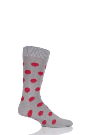 Mens 1 Pair Pringle of Scotland 6 Gauge Cotton Spot Design Socks Granite / Red Current