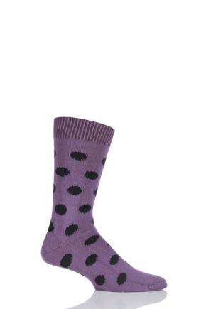 Mens 1 Pair Pringle of Scotland 6 Gauge Cotton Spot Design Socks Purple / Black