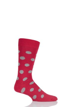Mens 1 Pair Pringle of Scotland 6 Gauge Cotton Spot Design Socks Red Current / Granite