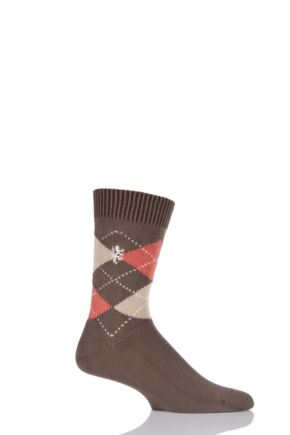 Mens 1 Pair Pringle of Scotland 6 Gauge Cotton Argyle Socks Bronze / Manderine