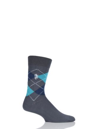 Mens 1 Pair Pringle of Scotland 6 Gauge Cotton Argyle Socks Slate / Peacock