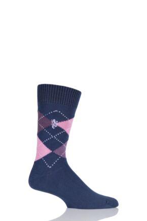 Mens 1 Pair Pringle of Scotland 6 Gauge Cotton Argyle Socks Marine / Shocking Pink