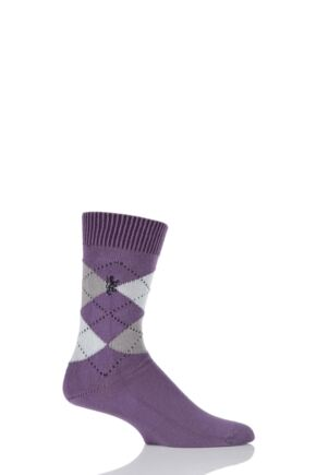 Mens 1 Pair Pringle of Scotland 6 Gauge Cotton Argyle Socks Purple / Black