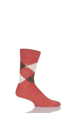 Mens 1 Pair Pringle of Scotland 6 Gauge Cotton Argyle Socks Mandarin / Bronze
