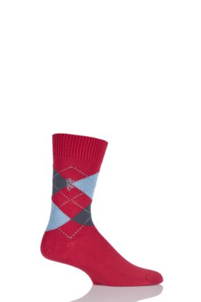Mens 1 Pair Pringle of Scotland 6 Gauge Cotton Argyle Socks Red Current / Granite