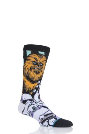 Mens 1 Pair Stance Star Wars Warped Chewbacca Cotton Blend Socks