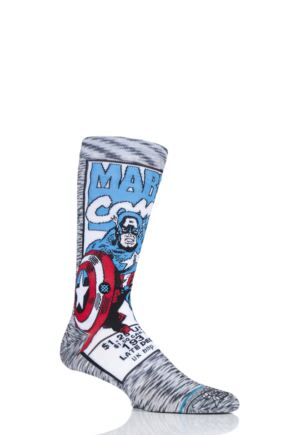 Mens 1 Pair Stance Marvel Captain America Comic Cotton Blend Socks