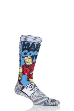 Mens 1 Pair Stance Marvel Iron Man Comic Cotton Blend Socks